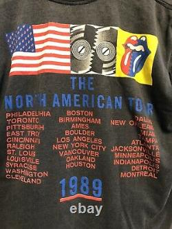 Vintage 1989 Rolling Stones The North American Tour Sz L Super Faded Sleeveless