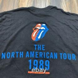 Vintage 1989 The Rolling Stones Steel Wheels North American Tour Band T Shirt XL
