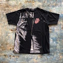Vintage 1994 Liquid Blue Rolling Stones Sticky Fingers All Over T-shirt Imprimé