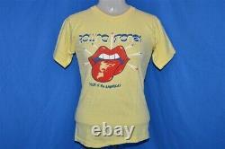 Vintage 70s Rolling Stones 1975 Tour De Xs T-shirt Jaune Rock Amériques
