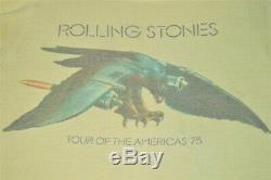 Vintage 70s Rolling Stones 1975 Tour Du T-shirt Rock Amériques Extra Petite Xs