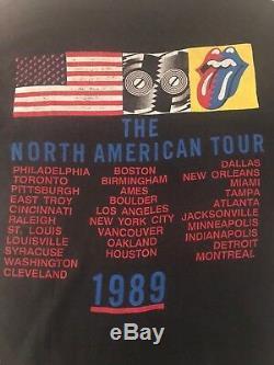 Vintage 80s 1989 Les Rolling Stones Steel Wheels Tour Concert T-shirt M / L
