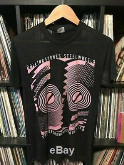 Vintage 80s 1989 Papier Mince Rolling Stones Steel Wheels Concert Tour T-shirt