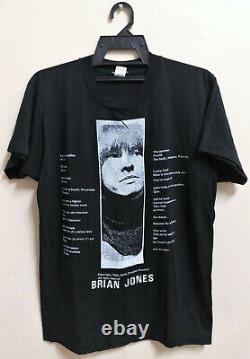 Vintage 80s Jim Morrison Tribute Pour Brian Jones L'étone Rolling Rock T-shirt