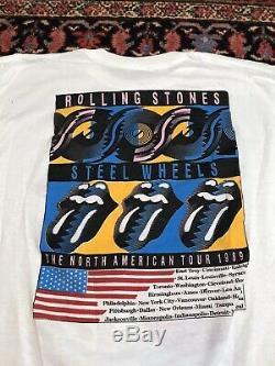 Vintage 80s Rolling Stones 1989 Tournée Nord-américaine T-shirt Jantes En Acier Blanc
