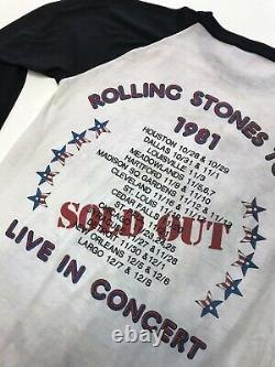 Vintage 80s Rolling Stones Nos 1981 Tour Chemise T-shirt World Tour Small