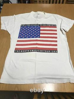 Vintage 80s Rolling Stones Rock Band USA Steel Wheels Concert Tour Tshirt XL