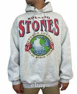 Vintage 90s Rolling Stones Voodoo Lounge World Tour Hoodie Taille XL Brockum USA