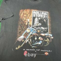 Vintage 90s Rolling Stones X Harley Davidson Band Tour Chemise Musicale Brockum XXL