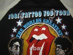 Vintage Concert T-shirt The Rolling Stones 81 Tatouage Que Vous N'avez Jamais Porté Jamais Lavé