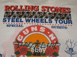 Vintage Concert Tee Rolling Stones Steel Wheels Tour 1989 Guns N Roses Taille XL