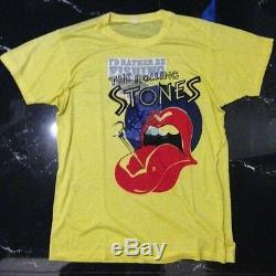 Vintage I Serais Plutôt Pêche Taille Chemise Rolling Stones M