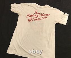 Vintage Les Rolling Stones Shirt 1971 Uk 3d Tour Rare Emblème 3d Tag Bande T L