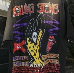 Vintage Nouveau 90s Rolling Stones Voodoo Lounge Tour Tshirt Noir XL Single Stitch