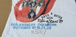 Vintage Original Guns N Roses & Rolling Stones La Concert Tour 1989 T-shirt Rare