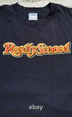 Vintage Really Stoned Rolling Stones Parodie Weed Pot 420 T Shirt Taille XL Single