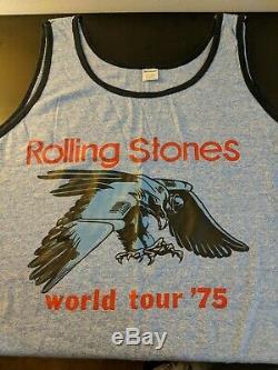 Vintage Rolling Stones 1975 World Tour Concert Tour Débardeur. Nm. Extra Large