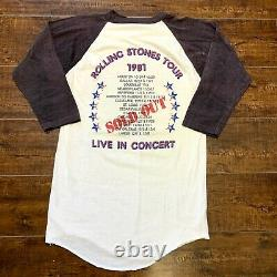 Vintage Rolling Stones 1981 80s Tour Raglan T-shirt Vtg Large L Band Metal Rock