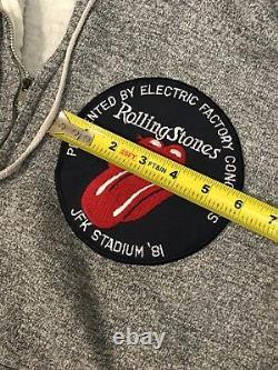Vintage Rolling Stones - 1981 Jfk Stadium-official Patch Sur Journey Hoodie Zip