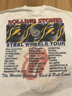 Vintage Rolling Stones 1989 89 Lips Tongue North American Tour Band T-shirt XL