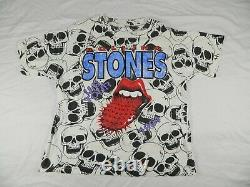 Vintage Rolling Stones 1994 Voodoo Lounge Us Tour Shirt XXL All Over Print Skull