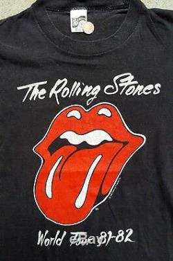 Vintage Rolling Stones Chemise 1981-1982 World Tour Originale Ultra Rare