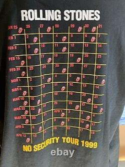 Vintage Rolling Stones Pas De Sécurité 90 Tour T-shirt Tee Hommes Taille XL Noir