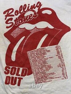 Vintage Rolling Stones Steel Wheels 1989 Concert Tour Tshirt Both Sides White S1