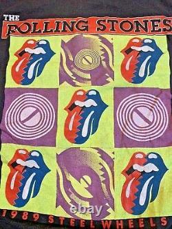 Vintage Rolling Stones Steel Wheels 1989 Us Tour Black Homme L T-shirt