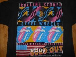 Vintage Rolling Stones Steel Wheels N. Américain 1989 Épuisé Tour Shirt Des Hommes Lg