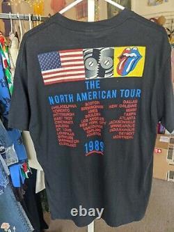 Vintage Rolling Stones T-shirt 1989 Jantes En Acier Concert Brockum Taille XL
