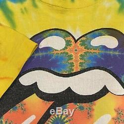 Vintage Rolling Stones T-shirt 1994 Taille XL Tie Dye Brockum Un Seul Point Rocher