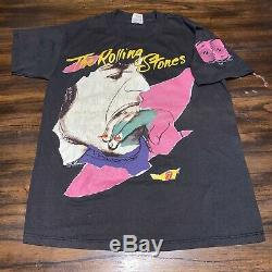 Vintage Rolling Stones Tournée Nord-américaine 1989 Mick Jagger Andy Warhol T-shirt
