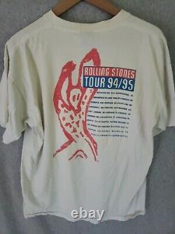 Vintage Rolling Stones Voodoo Lounge Tour 1994 T-shirt Blanc Taille XL Brockum