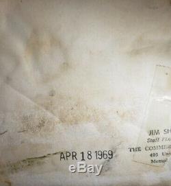 Vintage Signés Uniquemt Copie Jimi Hendrix Photo Memphis 18 Avril, 1969 Jim Shearin