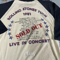 Vintage The Rolling Stones 1981 Tour Graphic Raglan T-shirt Medium 50/50 USA