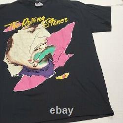Vintage The Rolling Stones Rock Band Musique Tee Jays T-shirt Grand Bon État