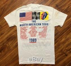 Vtg 1989 Rolling Stones Concert Tournée Nord-américaine T-shirt Adulte 80 M Rare