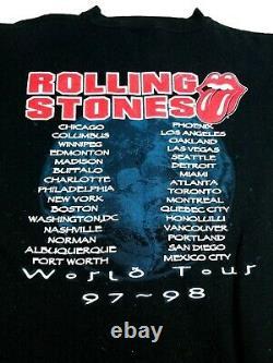Vtg 1997 1998 The Rolling Stones World Tour Crewneck Sweatshirt Taille XL