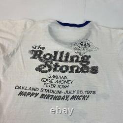 Vtg 70s Rolling Stones Day Sur La Chemise Verte Santana Eddie Argent Peter Tosh