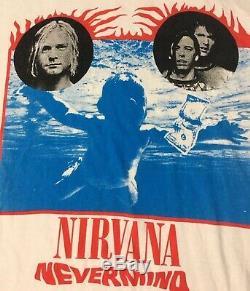 Vtg 90 Nirvana Tour Britannique De Nevermind Shirt L Kurt Cobain Sonic Youth Pearl Jam Acdc