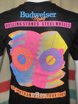 Vtg Les Rolling Stones Steel Wheels Tour T-shirt Non Porté