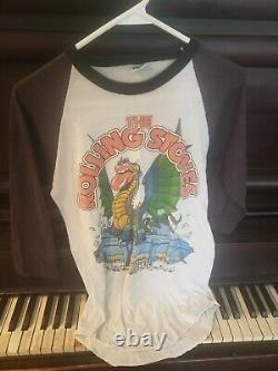 Vtg Orig. Rolling Stones 1981 Visite Du Stade Du Dragon 3/4 Raglan T-shirt Le Knits L