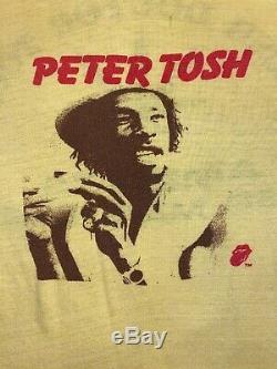 Vtg Peter Tosh T-shirt 1979 Bush Doctor Tournée Des Rolling Stones Weed Feuille Conjointe Med