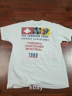 Vtg Rare Original Rolling Stones Steel Wheels Tour 1989 T-shirt Lg Canada Tour