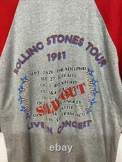 Vtg Rolling Stones 1981 World Tour Tee-shirt De Concert Taille M Sold Out Manche Rouge