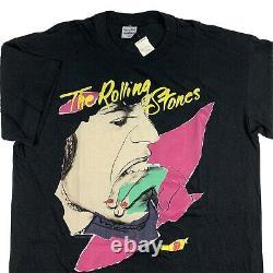 Vtg Rolling Stones 1989 North American Tour T-shirt XL Mick Jagger Steel Wheels