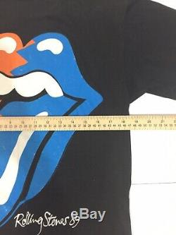 Vtg Roulement Stones'89 T-shirt Tournée Nord-américaine 1989 2 Sided Rock Band Tee L